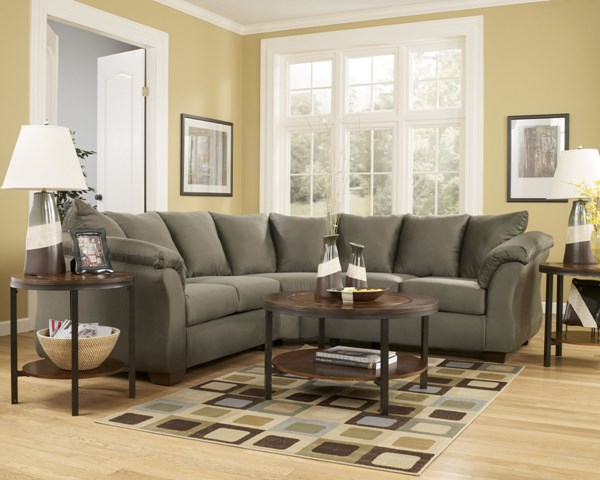 Darcy Contemporary Sage Fabric LAF Loveseat 7500355