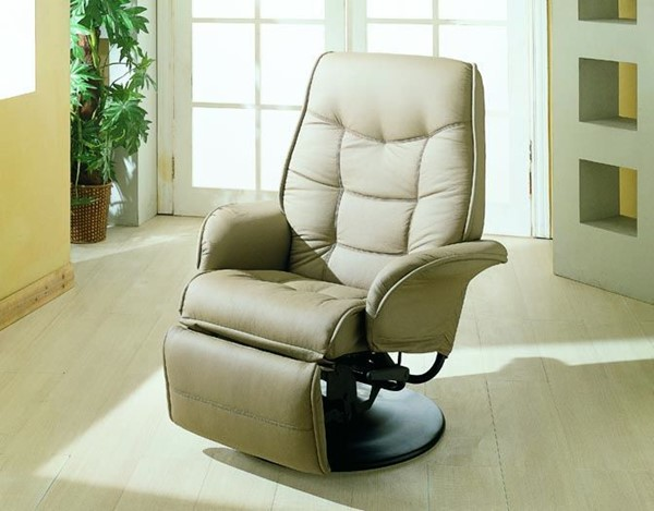 Beige Leatherette Swivel Recliner Cushion Back Chair CST-7502
