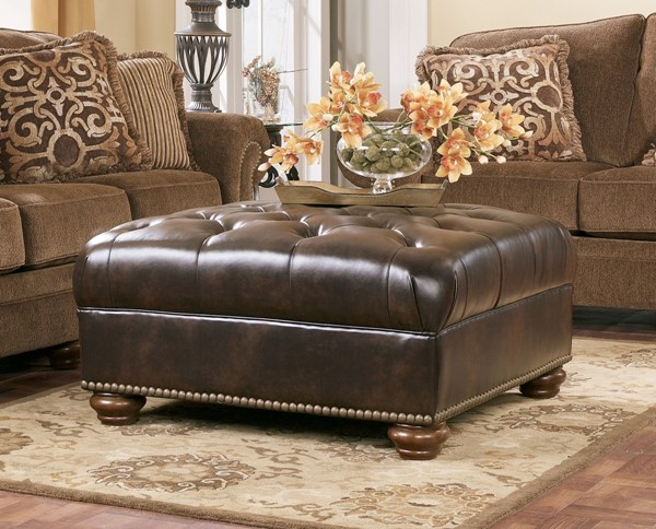 Presidio Traditional Antique Fabric Oversized Accent Ottoman 7670008