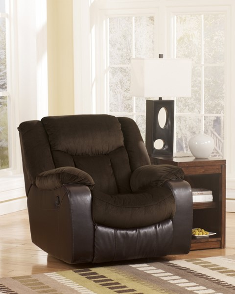 Tafton Contemporary Java Fabric Rocker Recliner W/Bustle Back 7920225