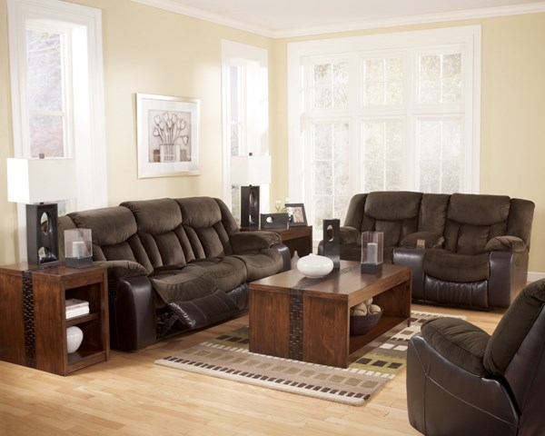 Tafton Contemporary Java Faux Leather 3pc Living Room Set 79202-S
