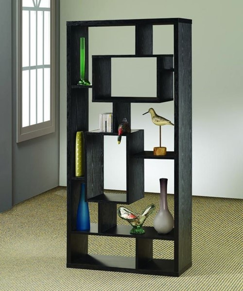 Transitional Black Wood Wall Recessed Bookcase CST-800262