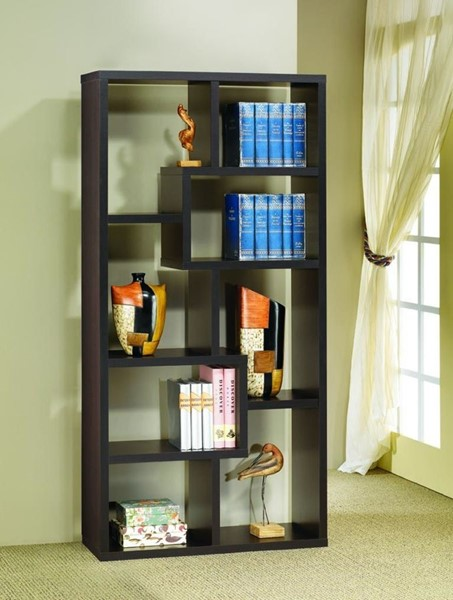 Transitional Wood 8 Shelves Wall Recessed Bookcase CST-800264