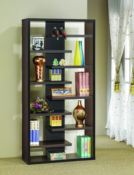 Coaster Furniture Cappuccino Wall Recessed Bookcase CST-800265