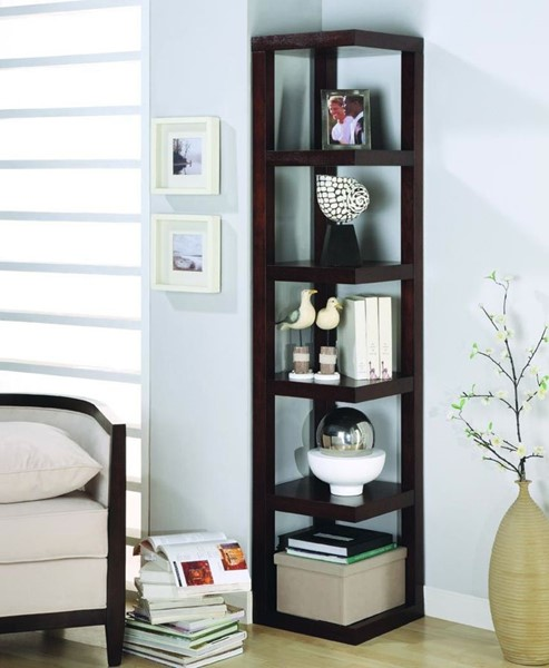 Cappuccino Wood Shelves Corner Bookcase CST-800268