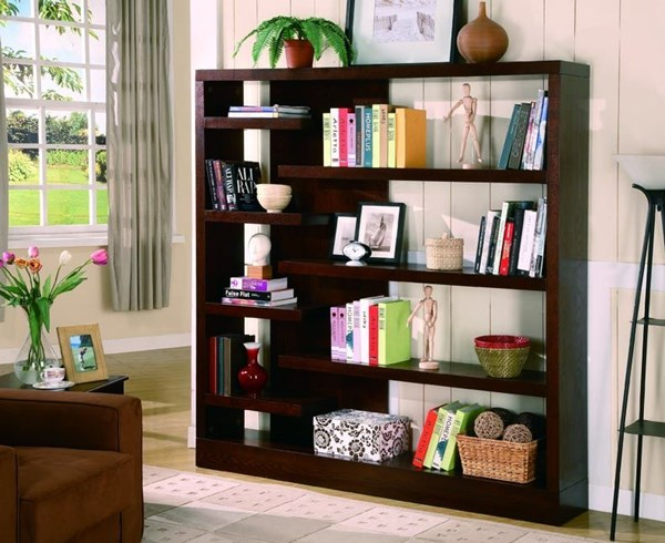 Coaster Furniture Cappuccino Wood Wall Recessed Bookcase CST-800288