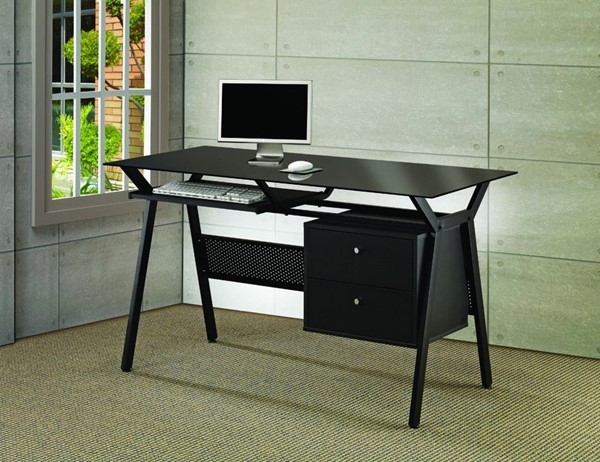 Coaster Furniture Black Metal 2 Storage Drawers Office Desk CST-800436