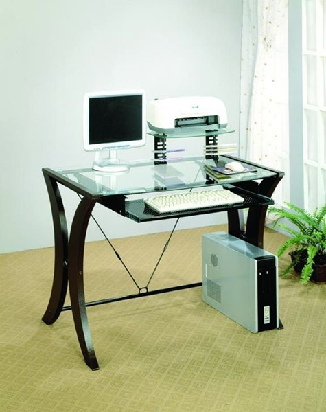 Cappuccino Wood Tempered Glass Top Computer Desk CST-800445