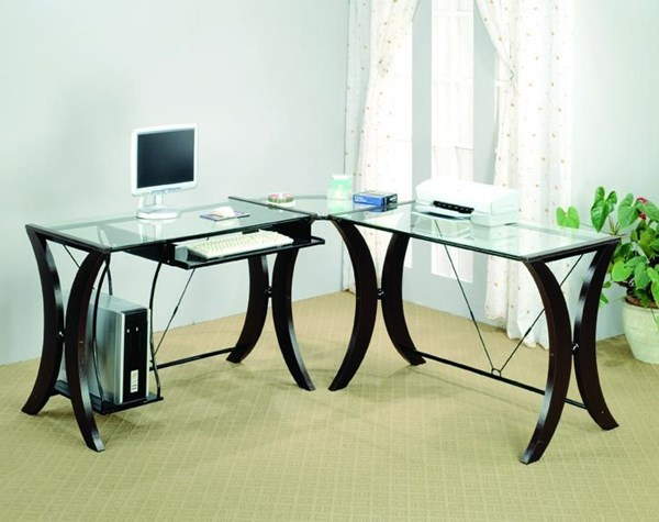 Contemporary Cappuccino Wood Glass Top 3pc Computer Desk Set CST-800446