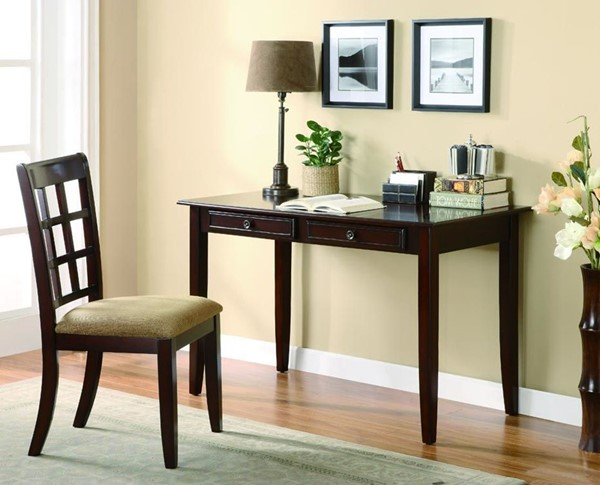 Traditional Dark Amber Cherry Wood Writing Table & Chair CST-800780