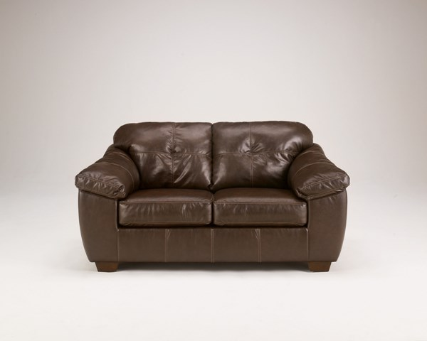 San Lucas Contemporary Harness Faux Leather Fabric Loveseat 8370235