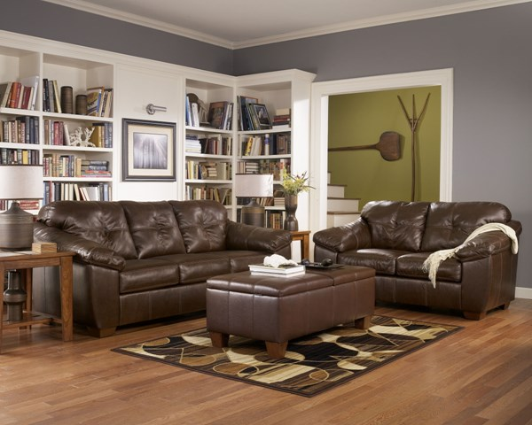 San Lucas Harness Contemporary Faux Leather Fabric Living Room Set 83702