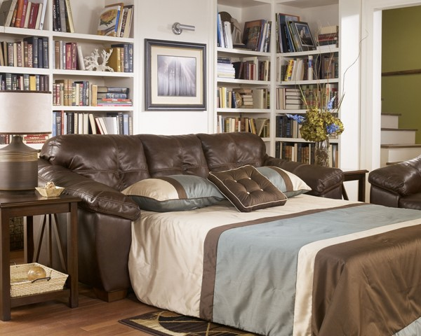 San Lucas Harness Contemporary Faux Leather Fabric Queen Sofa Sleeper 8370239