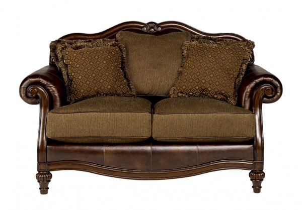 Claremore Traditional Antique Fabric Loveseat 8430335