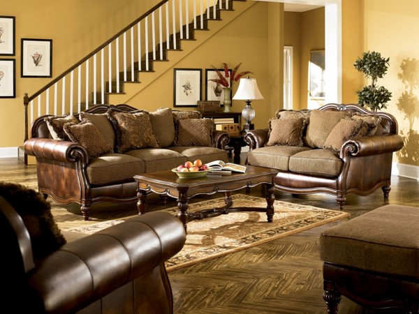 Claremore Traditional Antique Faux Leather Fabric Living Room Set 84303