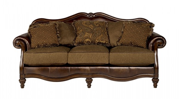 Claremore Traditional Antique Fabric Sofa W/Pillow Back 8430338