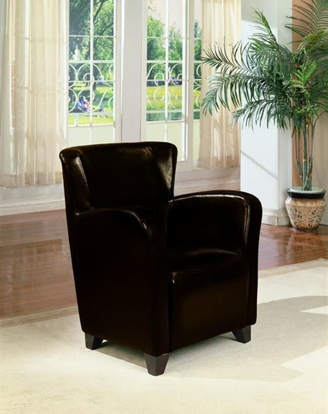 Transitional Brown Wood Faux Leather Chair CST-900234