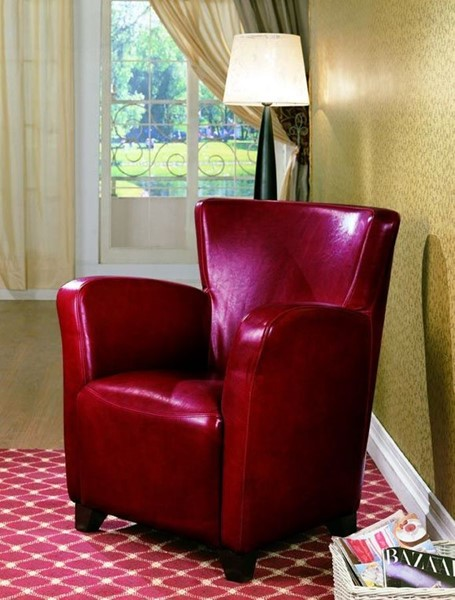 Contemporary Red Fabric Wood Cushion Back Vinyl Chair CST-900235