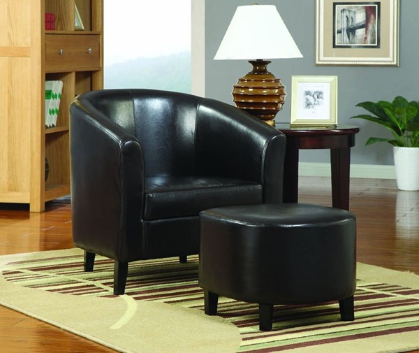 White Leather-Like Vinyl Accent Chair And Ottoman CST-900240