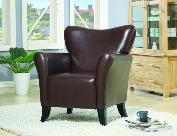 Brown Leather Like Vinyl Wood Cushion Back Chair CST-900254