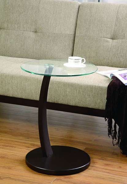 Cappuccino Metal Glass Accent Table CST-900256