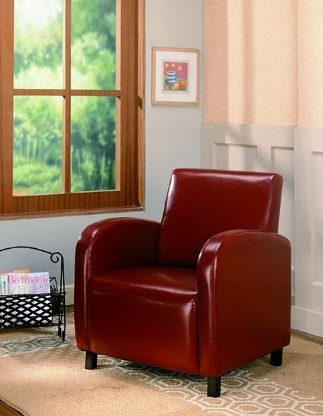 Red Fabric Wood Stationary Track Arm Vinyl Chair CST-900335