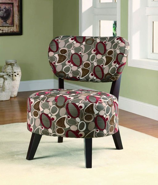 Oblong Pattern Fabric Wood Accent Chair W/Cushion Back CST-900425