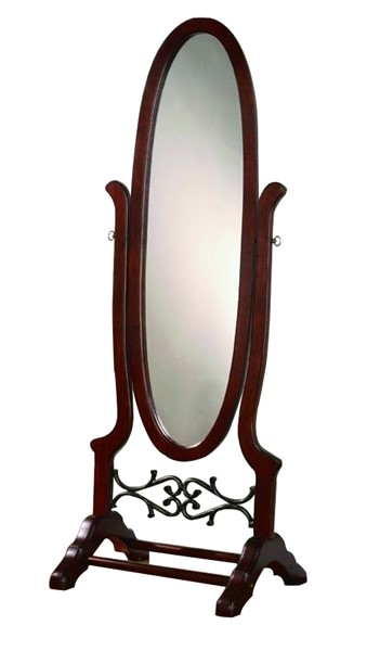 Brown Red Glass Cheval Oval Mirror CST-900466