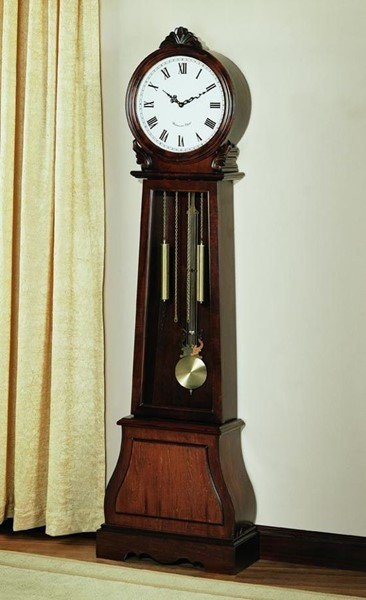 Transitional Brown Wood Double Chime Grandfather Clock CST-900723