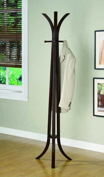 Contemporary Cappuccino Wood Slate Feet Coat Rack CST-900816