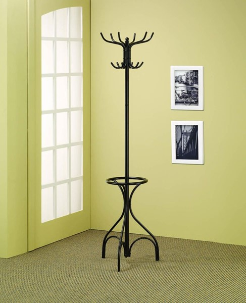Traditional Black Metal Spinning Top Coat Rack CST-900821