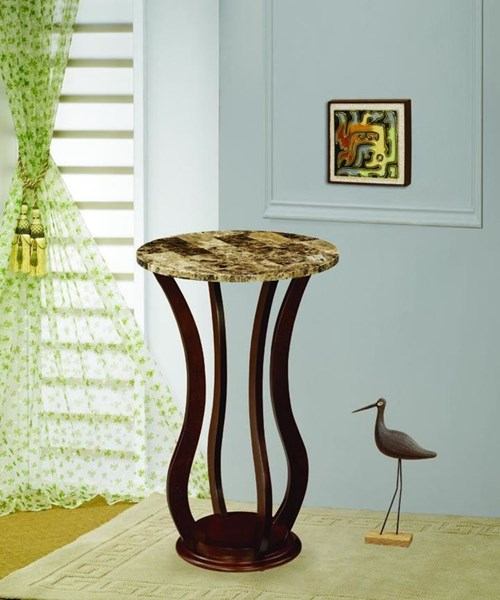 Transitional Cherry Wood Faux Marble Plant Stand CST-900926