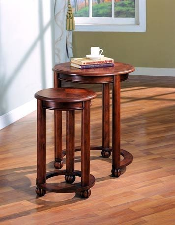 Transitional Warm Amber Wood Nesting Tables 2pc Set CST-901039