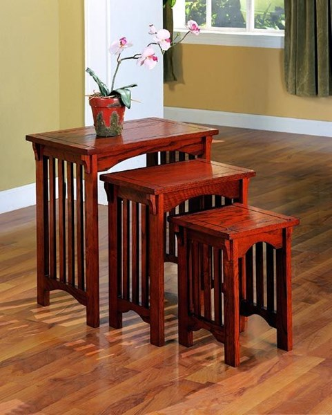 Transitional Warm Brown Wood Nesting Tables 3pc Set CST-901049