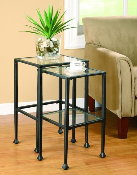 Transitional Black Glass Metal Nesting Tables 2pc Set CST-901073