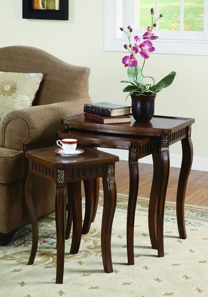 Traditional Cherry Nesting Table Set 3Pc CST-901076