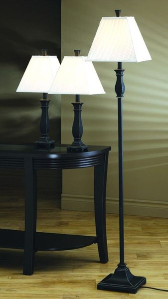 Traditional Black Gold Fabric 3pc Floor & Table Lamps Set CST-901145