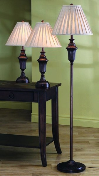 Coaster Furniture Dark Brown 3pc Floor and Table Lamp Set CST-901147