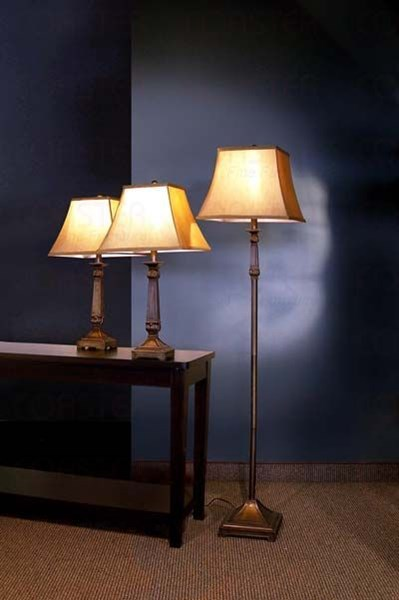 Traditional Brown Fabric 3pc Floor And Table Lamp Set CST-901160