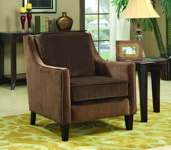 Brown Cappuccino Wood Fabric Accent Chair CST-902043