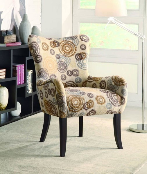 Beige Brown Wood Fabric Nailhead Trimming Accent Chair CST-902052