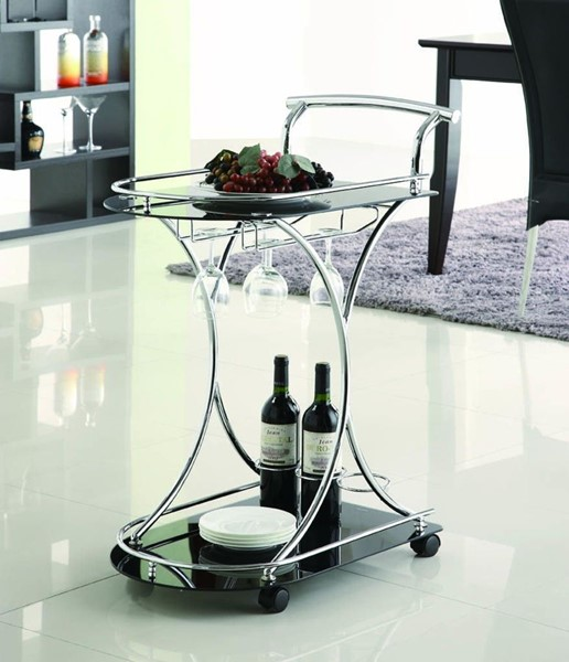 Contemporary Black Metal Glass Serving Cart CST-910001