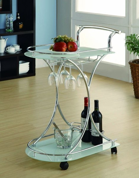 Coaster Furniture Chrome Frosted Serving Cart CST-910002
