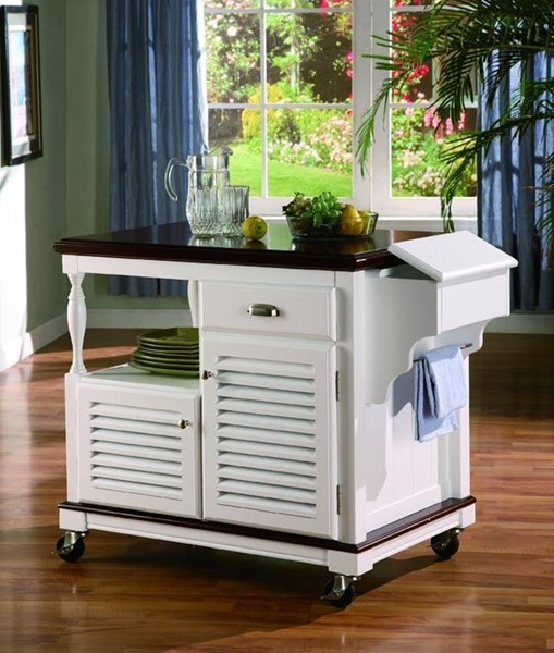 Casual White Wood Kitchen Island CST-910013