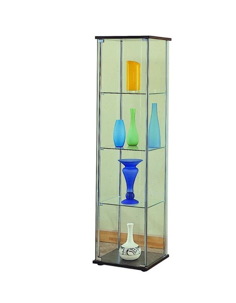 Contemporary Cappuccino Wood Glass Curio CST-950172