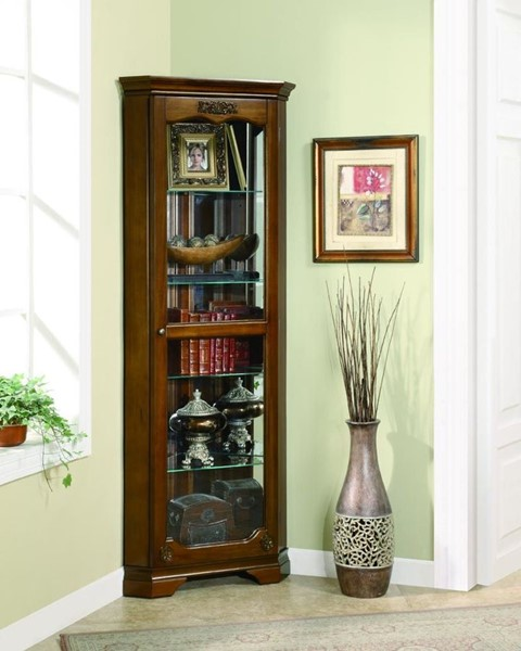 Traditional Cherry Wood Glass Curio Cabinet CST-950195