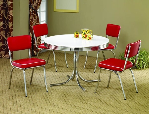 Contemporary Red Metal Solid Back 5pc Dinette Set W/Round Table CST-2388SET-2