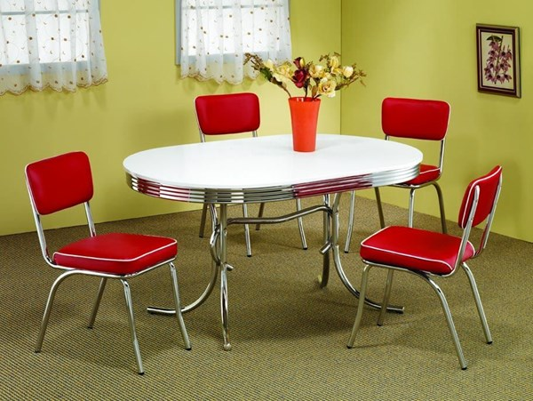 Contemporary Red Metal Solid Back 5pc Dinette Set W/Oval Table CST-2388SET-4
