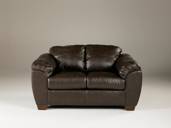 DuraBlend Contemporary Cafe PU Loveseat W/Cushion Back 9880035