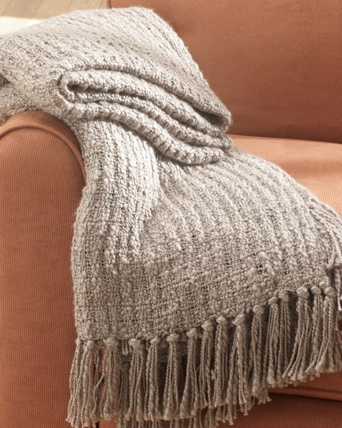 3 Ashey Furniture Caitlyn Taupe Throws A1000091